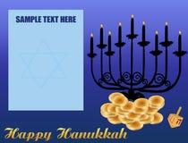 Happy Hanukkah/Chanukah Background. Including Menorah, dreidls/sevivot, Hanukkah Gelt with space for your text stock illustration