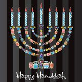 Happy Hanukkah Cookie Menorah. Menorah made of cute Jewish Cookies Royalty Free Stock Photos