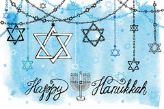 Happy Hanukkah.David Star garlands.Watercolor Royalty Free Stock Images