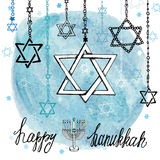 Happy Hanukkah David Star.Watercolor splash Stock Images