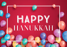Happy Hanukkah Day Card with Flying Balloons and White Frame. Stock Photo