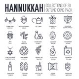 Happy hanukkah day thin line illustration background. Outline icons elements for holiday. Vector object jewish. Traditional on religion celebration. Israel