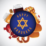 Happy Hanukkah design with traditional foods Royalty Free Stock Photo