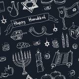 Happy Hanukkah doodle seamless pattern. Vintage illustration Stock Image