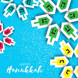 Happy hanukkah with dreidels - spinning top. Jewish holiday Stock Photo