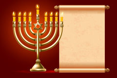 Happy Hanukkah. Elegant greeting card for Happy Hanukkah, jewish holiday. Hanukkah golden menorah with burning candles and ancient scroll on red background Stock Photo