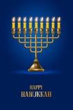Happy Hanukkah. Elegant greeting card for Happy Hanukkah, jewish holiday. Hanukkah golden menorah with burning candles on blue background. Vector illustration Royalty Free Stock Photography