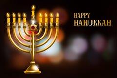 Happy Hanukkah. Elegant greeting card for Happy Hanukkah, jewish holiday. Hanukkah golden menorah with burning candles on blurred night background. Vector