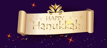 Happy Hanukkah Festive background. Vintage Gold Ribbon Title sign, gifts and presents Hanuka Decoration. stock illustration