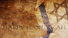 Happy Hanukkah. Flag and Wood stock image
