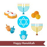Happy Hanukkah flat vector icons set with dreidel game, coins, hand of Miriam, palm of David, star of David, menorah, traditional Royalty Free Stock Images