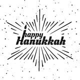 Happy Hanukkah. Font composition with candles and rays in the form of the Star of David in vintage style. Vector Holiday Religion. Illustration. Jewish Festival Royalty Free Stock Image