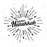 Happy Hanukkah. Font composition with geometric hand drawn sunbursts, sun beams and candles in vintage style. Vector Holiday Relig. Ion Illustration. Jewish Royalty Free Stock Image