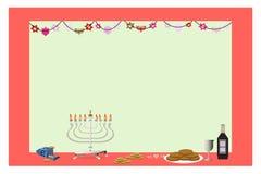Happy Hanukkah Frame. Hanukkah frame with dreidels and stars Royalty Free Stock Photos