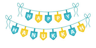Happy Hanukkah garland, ribbon. Hanukkah garland for party. Stock Images