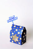 Happy Hanukkah Gift Box and Sign. On White Background stock image