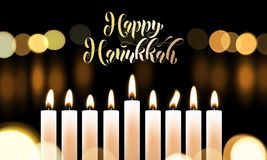 Happy Hanukkah golden font and candles Jewish holiday greeting card design template. Vector Chanukah or Hanukah holy lights festiv. Al golden calligraphy text vector illustration