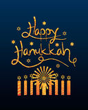 Happy Hanukkah golden glitter blue Royalty Free Stock Images