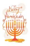 Happy Hanukkah golden glitter candle star Stock Photos