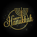 Happy Hanukkah golden lettering Stock Photography