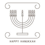 Happy Hanukkah. Greeting card with a candlestick and candles. Vector illustration stock illustration