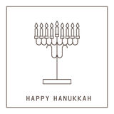 Happy Hanukkah. Greeting card with a candlestick and candles. Vector illustration royalty free illustration