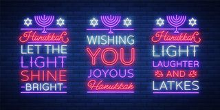 Happy Hanukkah, a greeting card collection in a neon style. Vector illustration. Neon luminous text on the subject of. Chanukah. Bright banner, luminous festive Stock Photo