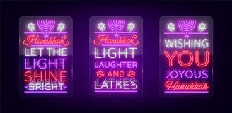 Happy Hanukkah, a greeting card collection in a neon style. Vector illustration. Neon luminous text on the subject of. Chanukah. Bright banner, luminous festive Stock Photography
