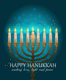 Happy Hanukkah greeting card design, jewish holiday. Vector illustration Stock Photography