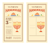 Happy Hanukkah greeting card design, snowing Stock Photos