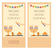 Happy Hanukkah greeting card design, snowing Royalty Free Stock Image