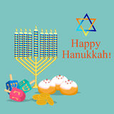 Happy Hanukkah greeting card design vector illustration. Royalty Free Stock Images