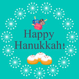 Happy Hanukkah greeting card design vector illustration. Stock Photography