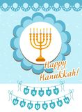 Happy Hanukkah greeting card, flyer, poster. Template for your invitation design. With menorah, sufganiyot, bunting Royalty Free Stock Images