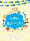 Happy Hanukkah greeting card, flyer, poster. Template for your invitation design. With menorah, sufganiyot, bunting Stock Image