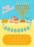 Happy Hanukkah greeting card, flyer, poster. Template for your invitation design. With menorah, sufganiyot, bunting Royalty Free Stock Image