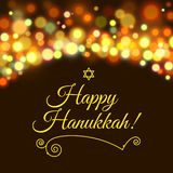 Happy Hanukkah greeting card with hand-drawn calligraphy designed text. Stock Photos
