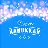 Happy Hanukkah greeting card with hand-drawn calligraphy designed text. Royalty Free Stock Photo