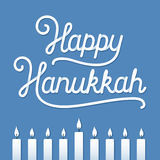 Happy Hanukkah Greeting card. Happy Hanukkah handwritten lettering composition with menorah candles. Holiday greeting card vector illustration