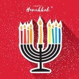 Happy Hanukkah Greeting card. Hanuka juish vector illustration. jewish menorah - traditional candelabra and burning Royalty Free Stock Images
