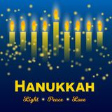 Happy Hanukkah greeting card, Hanukkah lights on dark starry night background. Happy Hanukkah greeting card, lights on dark background. Hanukkah party poster Stock Photo