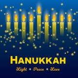Happy Hanukkah Greeting Card, Hanukkah Lights On Dark Starry Night Background. Stock Photo