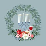 Happy Hanukkah greeting card, invitation with hand drawn candleholder, dreidle, donut and floral wreath. Vector. Happy Hanukkah greeting card, invitation with