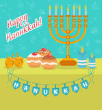 Happy Hanukkah greeting card, invitation, poster. Hanukkah Jewish Festival Stock Images