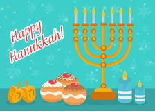 Happy Hanukkah greeting card, invitation, poster. Hanukkah Jewish Festival of Lights Stock Photo