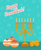 Happy Hanukkah greeting card, invitation, poster. Hanukkah Jewish Festival of Lights Royalty Free Stock Photo