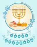 Happy Hanukkah greeting card, invitation, poster. Hanukkah Jewish Festival of Lights, Feast of Dedication. Hanukkah Greeting Card. With Menorah. Vector Royalty Free Stock Images