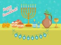 Happy Hanukkah greeting card, invitation, poster. Hanukkah Jewish Festival of Lights. Hanukkah Greeting Card with Menorah, Sufganiyot, Olives and Dreidel Royalty Free Stock Image