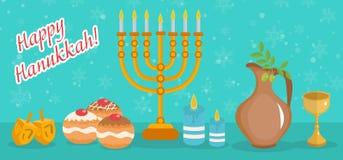 Happy Hanukkah greeting card, invitation, poster. Hanukkah Jewish Festival of Lights. Hanukkah Greeting Card with Menorah, Sufganiyot, Olives and Dreidel Stock Images