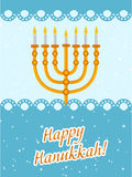 Happy Hanukkah greeting card, invitation, poster. Stock Photo